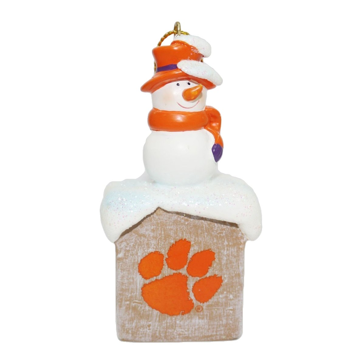 "3"" Resin Snowman Ornament With Orange Paw - Mr. Knickerbocker"