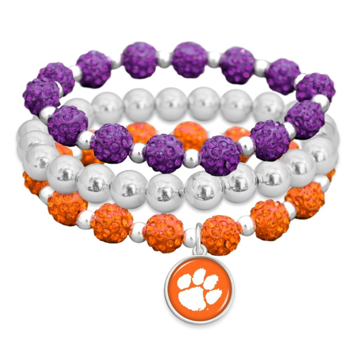 3 Stacked Sparkle Ball Charm Orange With Paw White Purple - Mr. Knickerbocker
