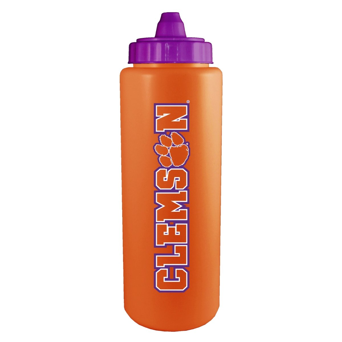 32 Oz. Sideline Sports Bottle - Orange With Purple Top and Word Mark Logo - Mr. Knickerbocker