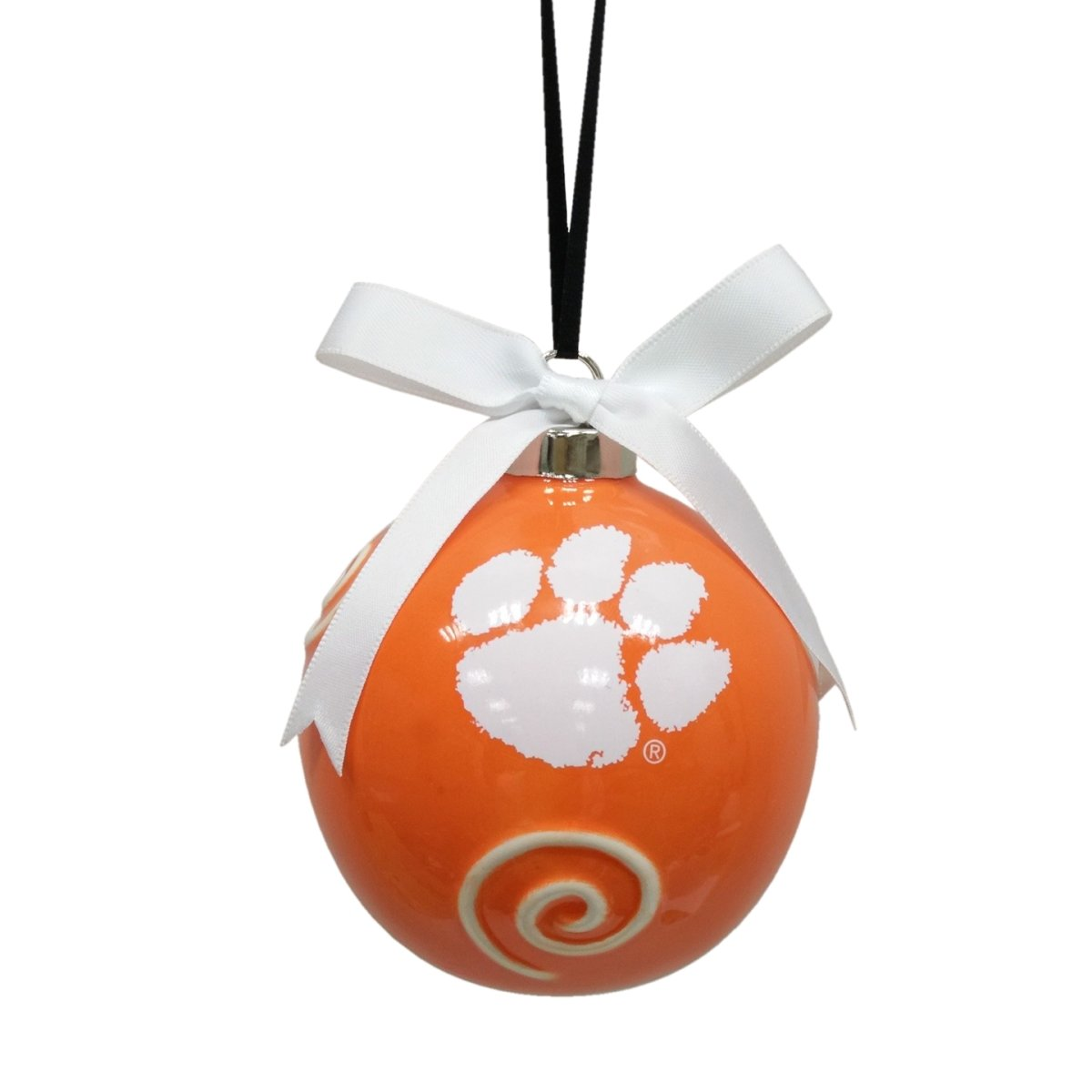 "3.5"" Ceramic Ball Ornament With Swirl and White Paw - Mr. Knickerbocker"