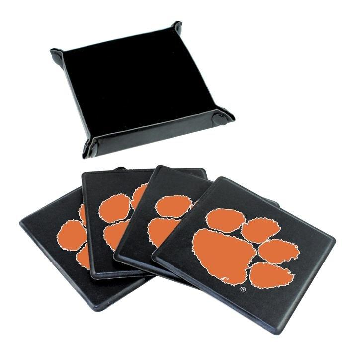 4 Pc Coaster Set With Carry Case - Black With Orange Paw - Mr. Knickerbocker
