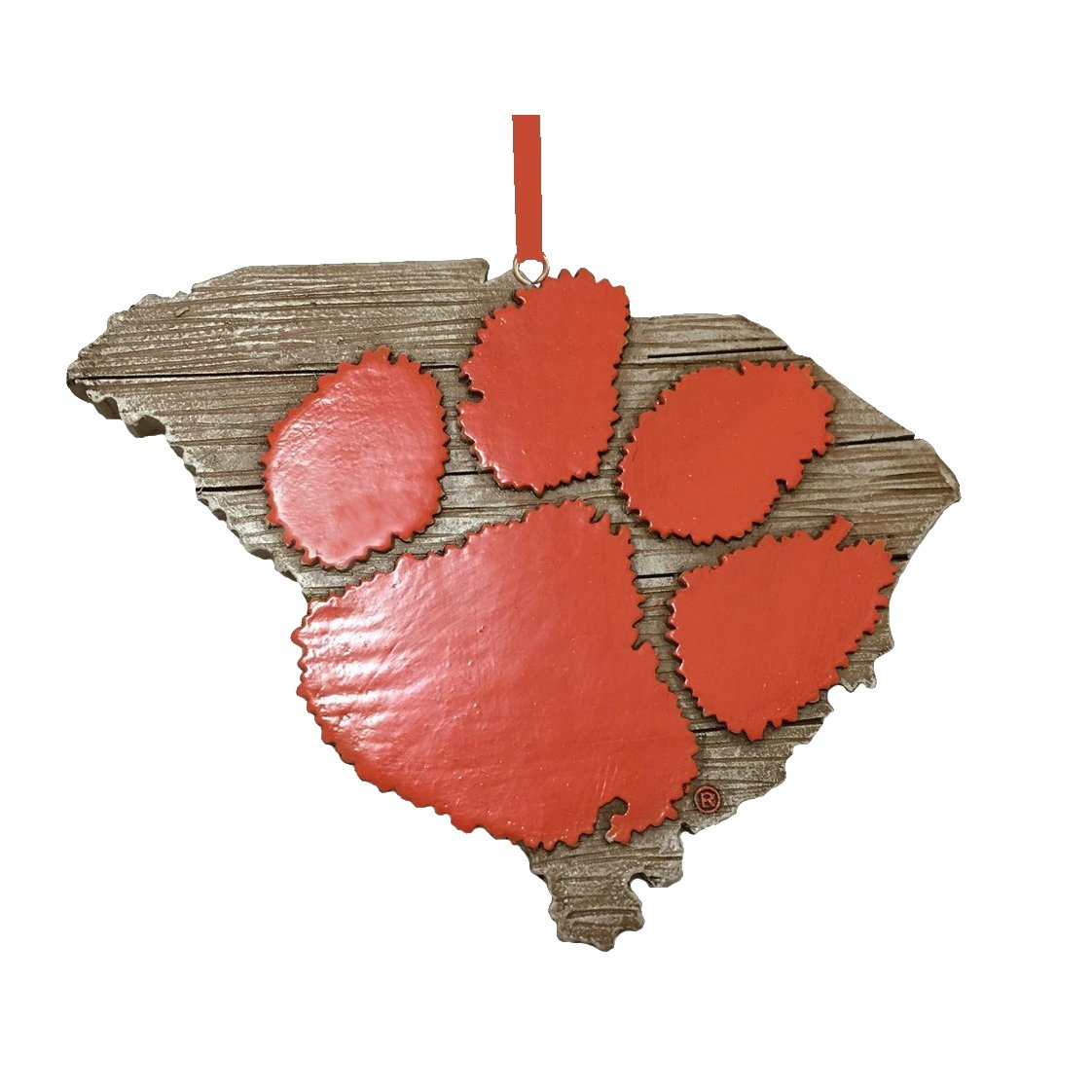"4"" State Ornament With Orange Paw - Mr. Knickerbocker"