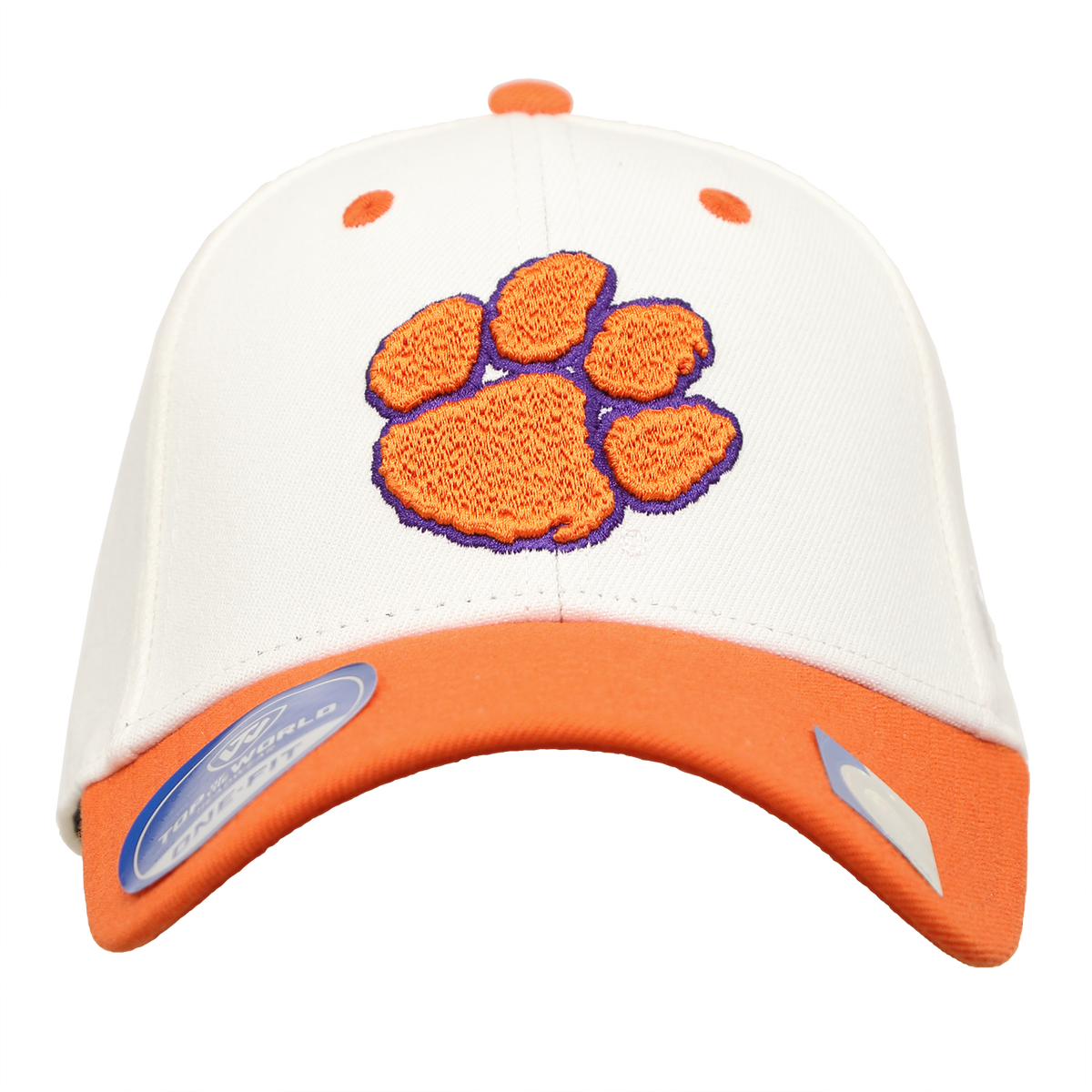 Top of the World Clemson Tigers Pride Hat Two Tone White Orange Bill and Paw