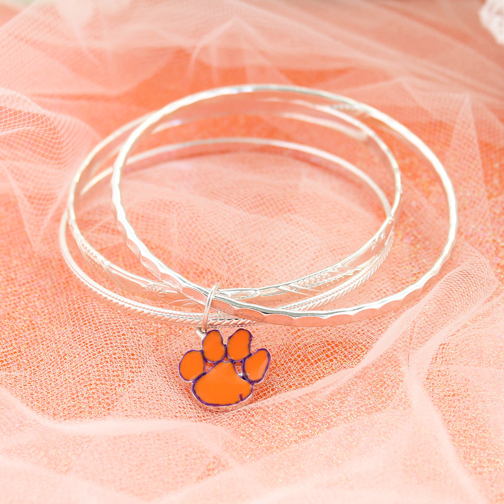 Clemson Paw Bangle Silver Plated Bracelet