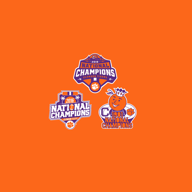 Clemson 3 Time Champs 9x9 Side Panel