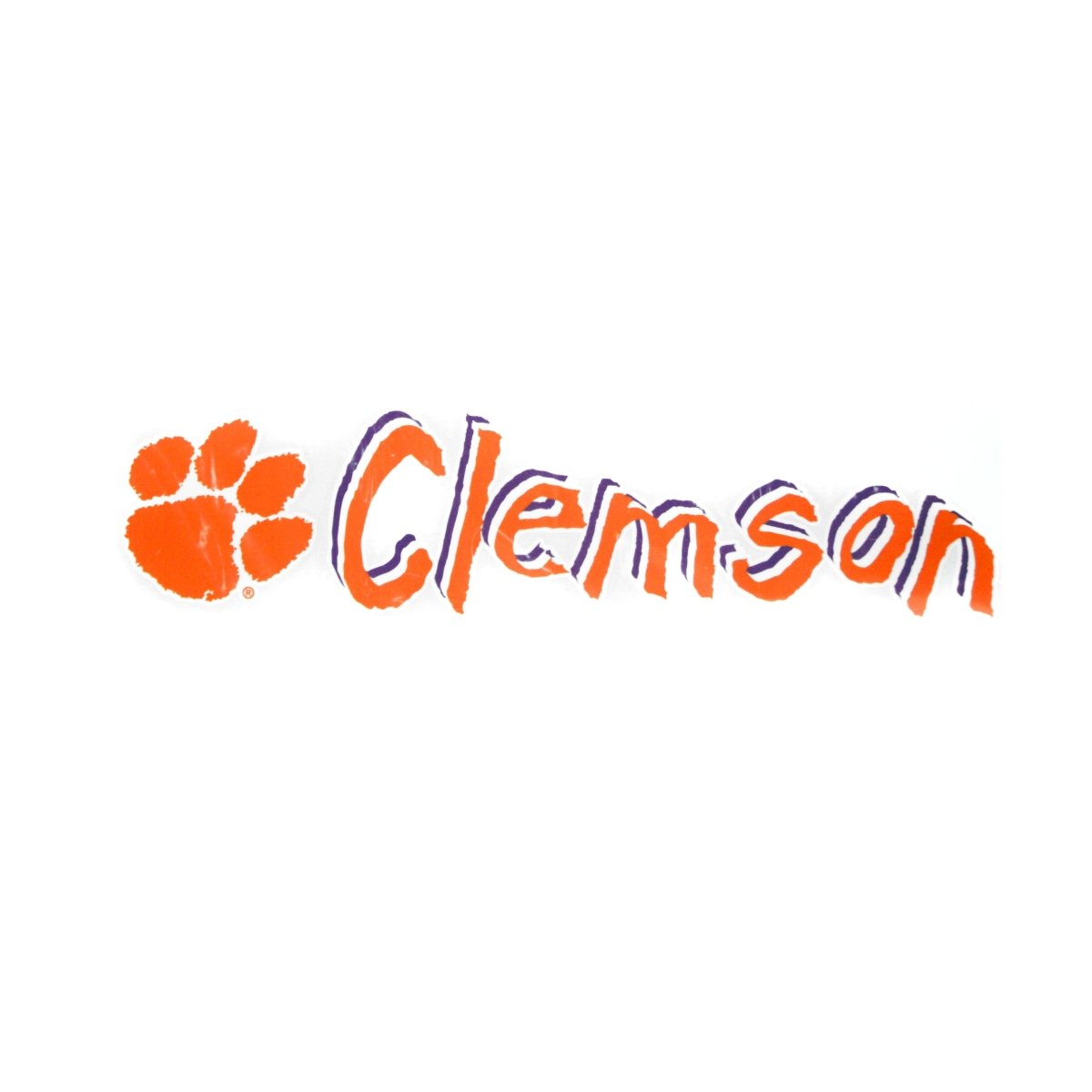 "Angelus Pacific Clemson Tigers 13"" Comical Script Window Decal - Mr. Knickerbocker"