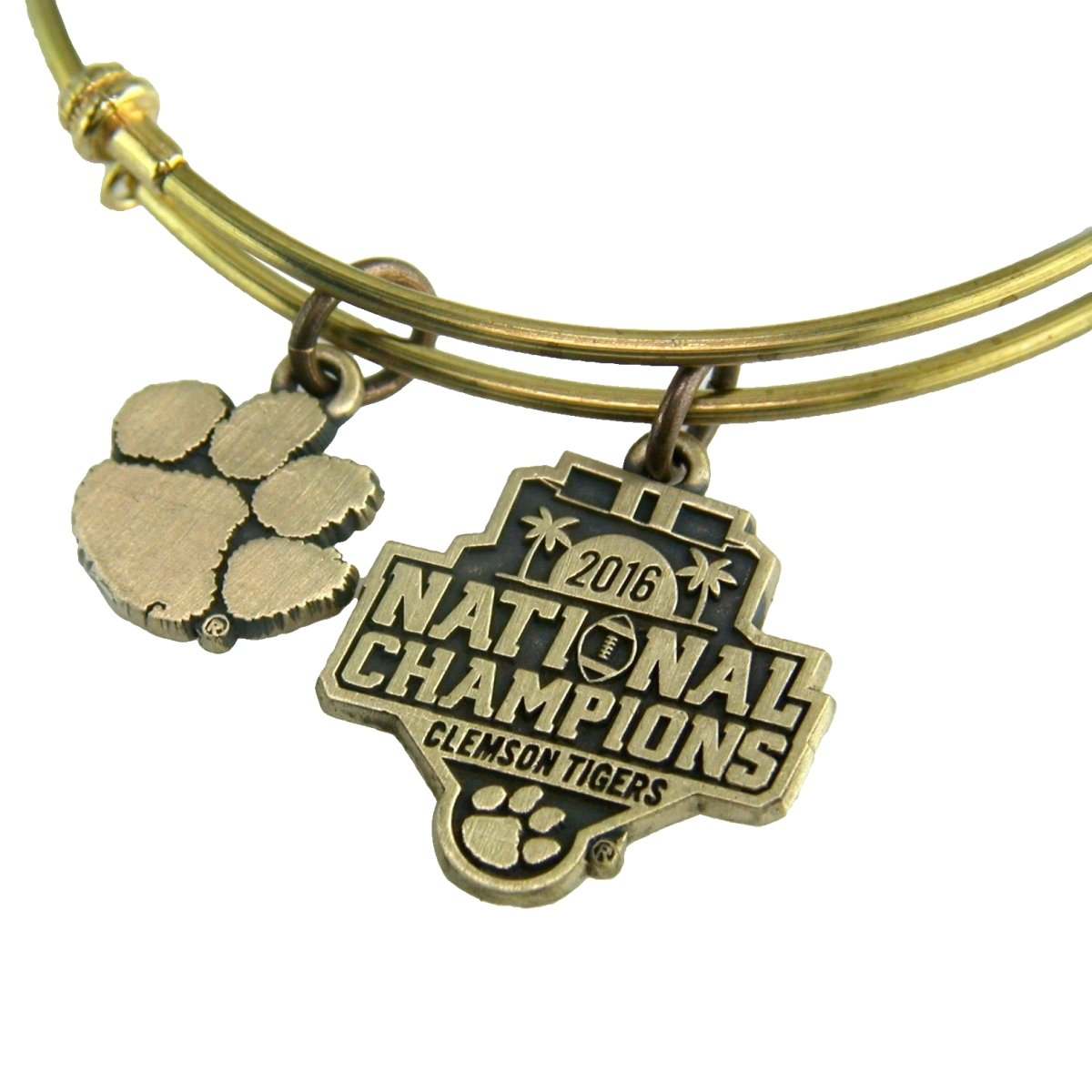 Argent Sport Clemson Tigers 2016 National Champions Gold Tone Bangle Charm Bracelet - Mr. Knickerbocker