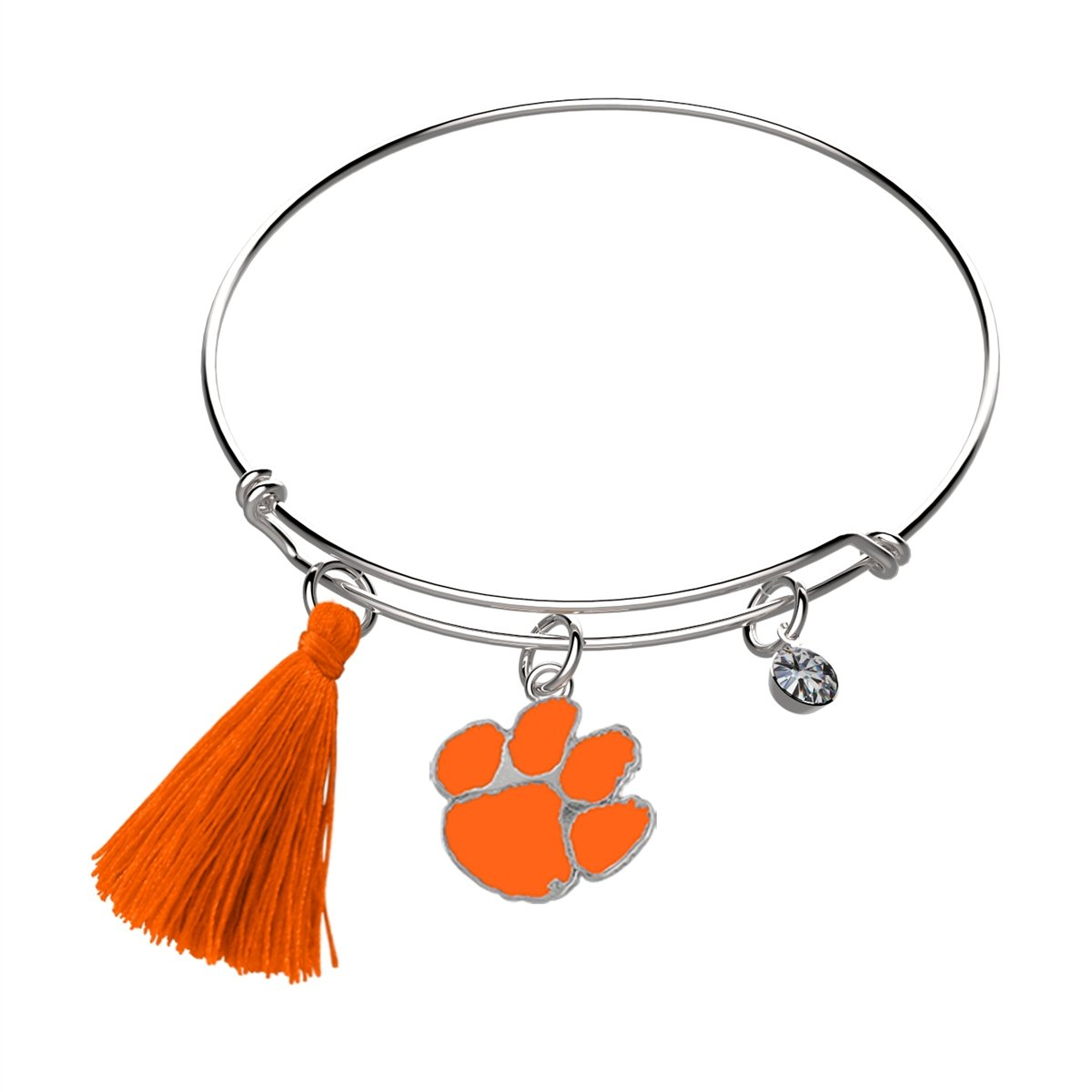 Bambi Tassel Bracelet With Orange Tassel, Paw, and Crystal - Mr. Knickerbocker