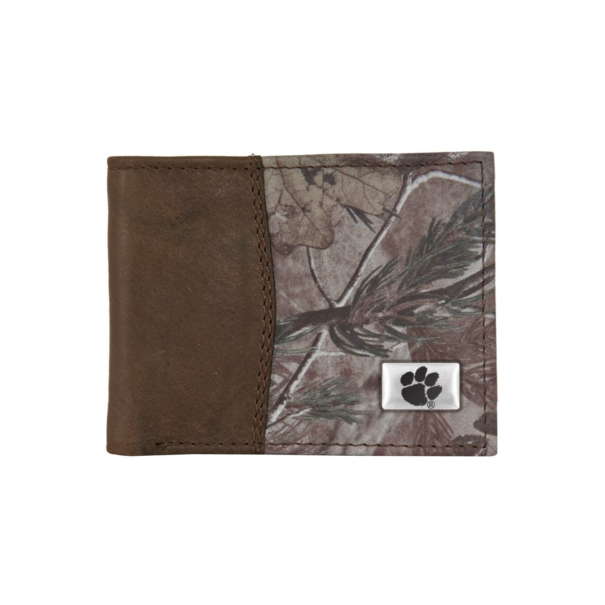 Brown Leather and Camo Bifold Wallet With Silver/black Paw Concho - Mr. Knickerbocker