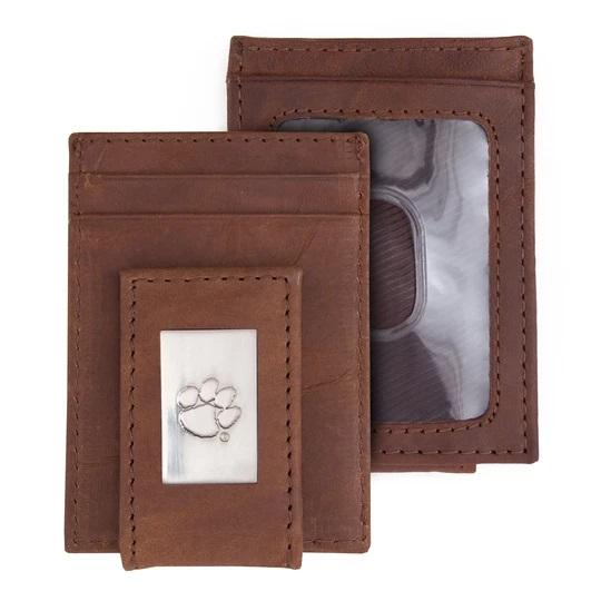 Brown Leather Front Pocket Wallet/money Clip With Silver Paw Concho - Mr. Knickerbocker