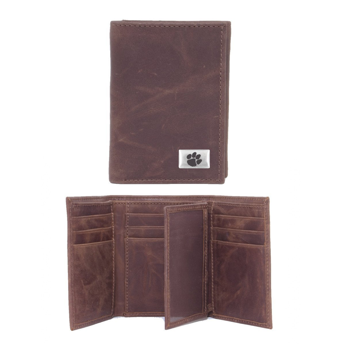 Brown Leather Tri Fold Wallet With Silver/black Paw Concho - Mr. Knickerbocker