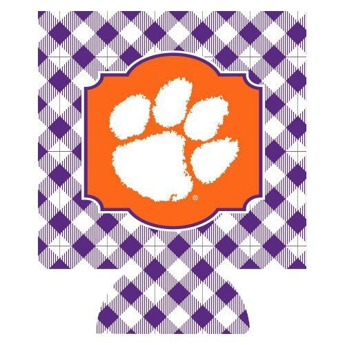 Can Koozie Gingham Purple & White - Mr. Knickerbocker