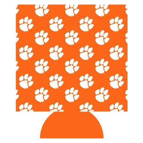 Can Koozie Orange With White Paws All Over Tiled - Mr. Knickerbocker