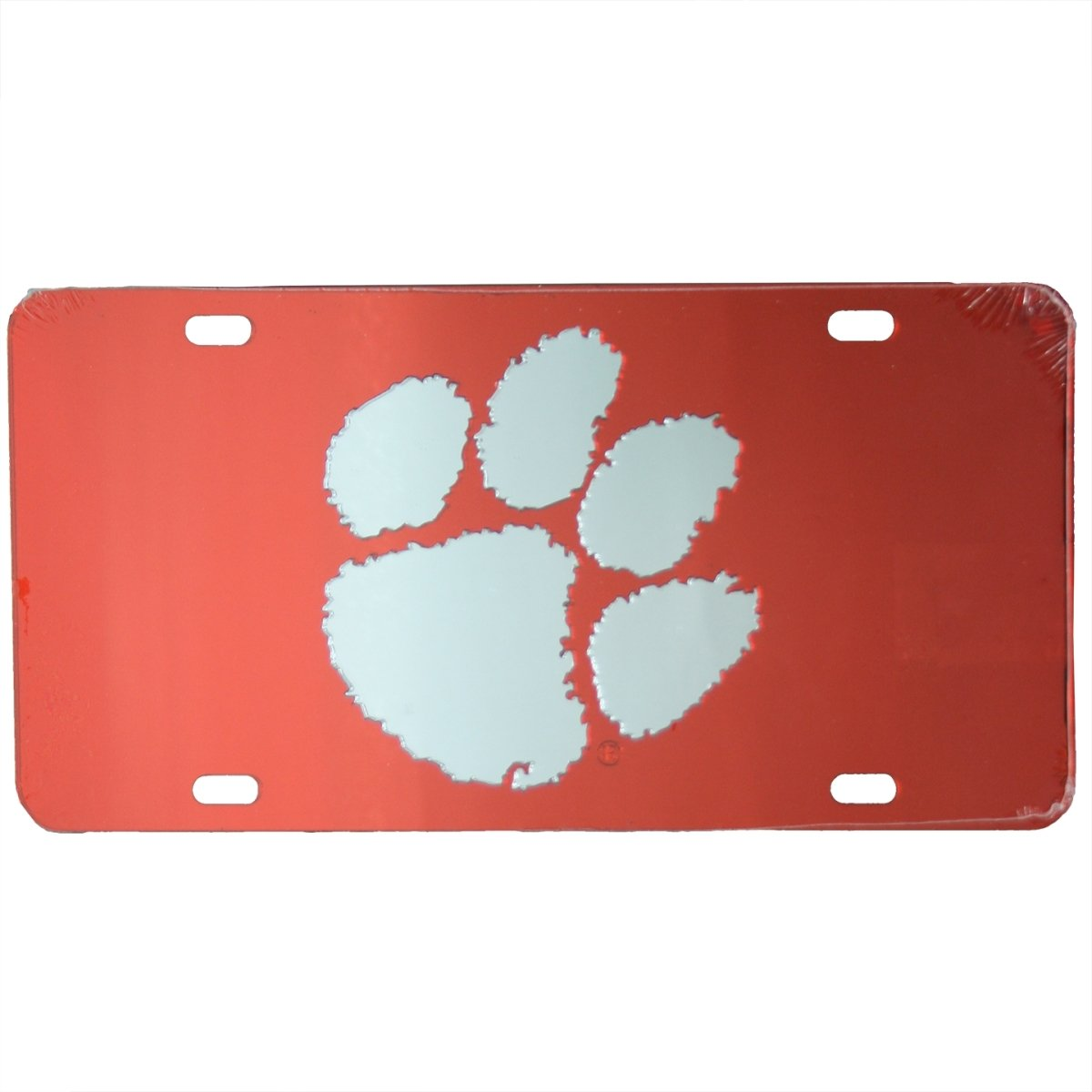 Car Tag Laser Cut Orange With Silver Paw - Mr. Knickerbocker