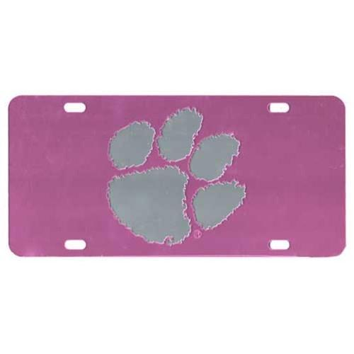 Car Tag Laser Cut Pink With Silver Paw - Mr. Knickerbocker