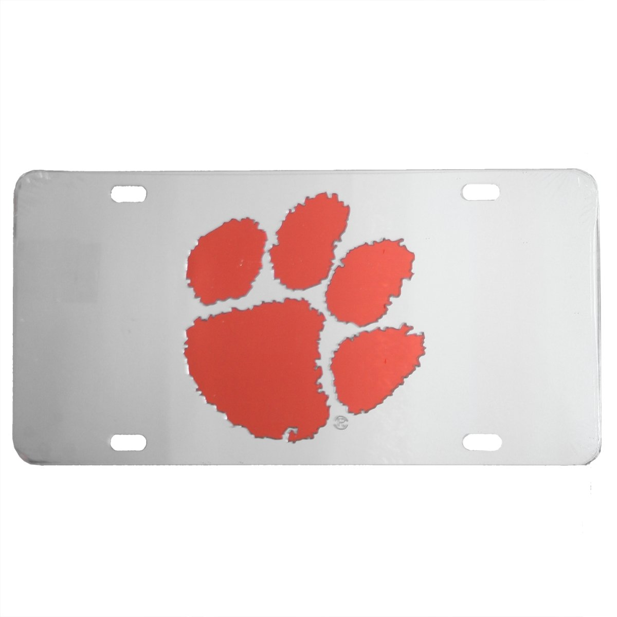 Car Tag Laser Cut Silver With Orange Paw - Mr. Knickerbocker