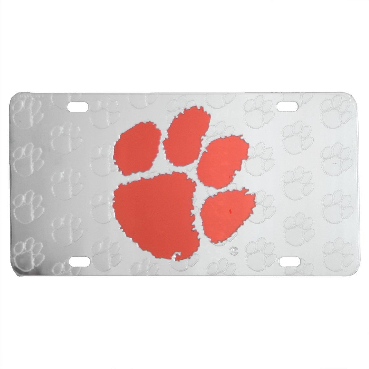 Car Tag Laser Cut Silver With Orange Paw & All Over Etched Paws - Mr. Knickerbocker