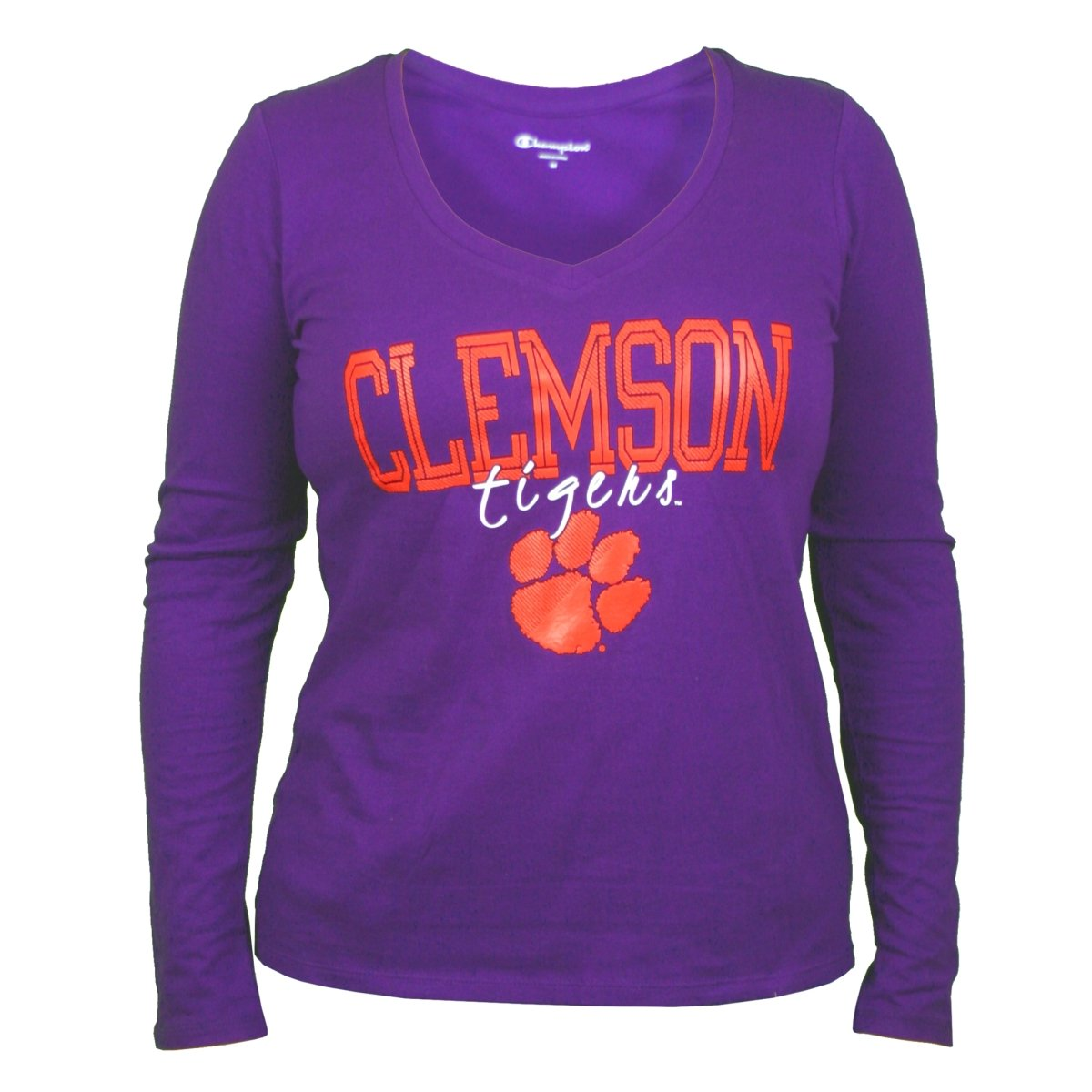 Champion Ladies Clemson With Script Tigers Over Paw Long Sleeve V-neck - Mr. Knickerbocker