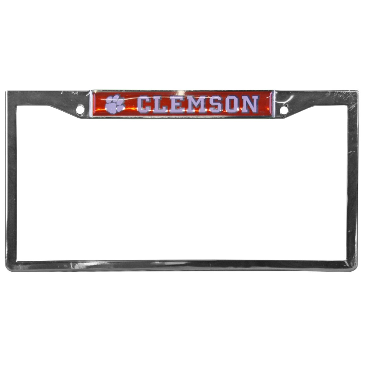 Chrome Metal Full View Tag Frame Clemson & Paw in White Over Orange - Mr. Knickerbocker
