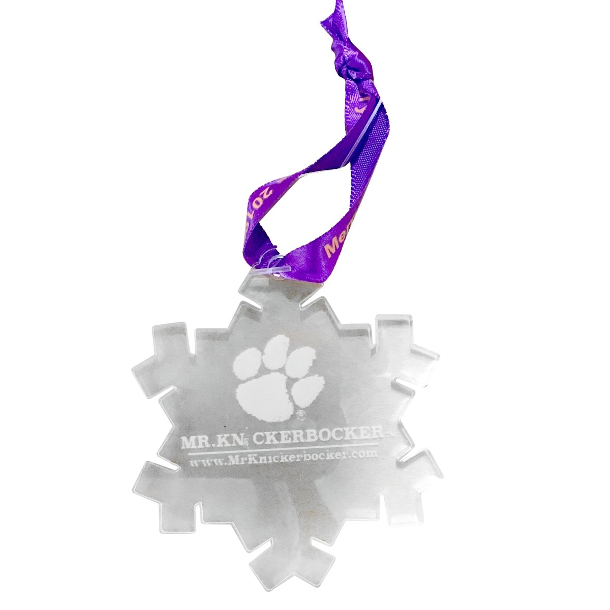 Clear Snowflake Ornament With Mr K Logo - Mr. Knickerbocker