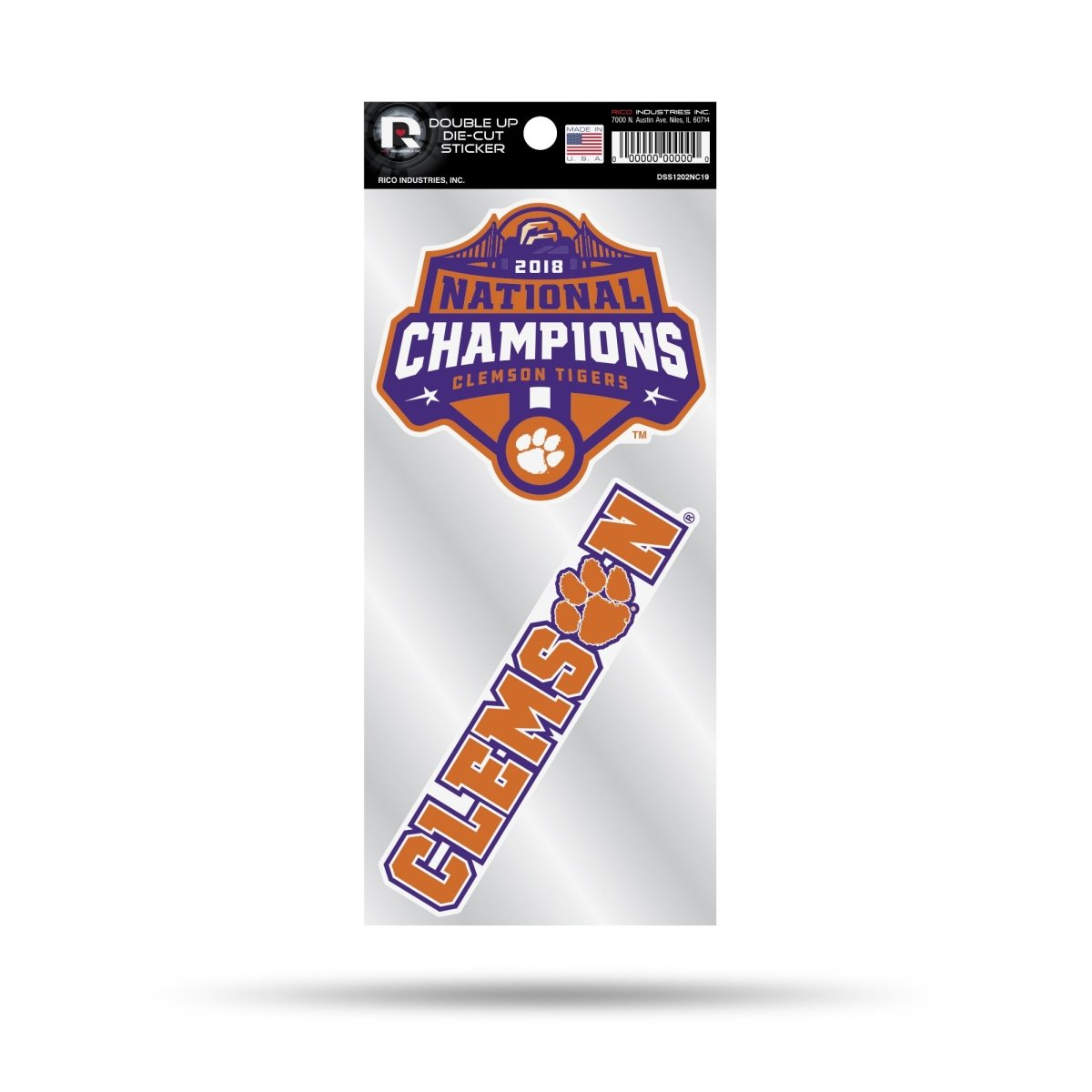 Clemson 2019 College Football Champions Double Up Sticker - Mr. Knickerbocker