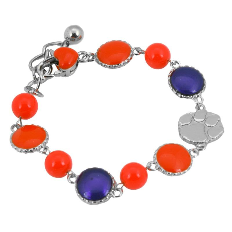 Clemson Bubble Bracelet with Paw Print Charm - Mr. Knickerbocker