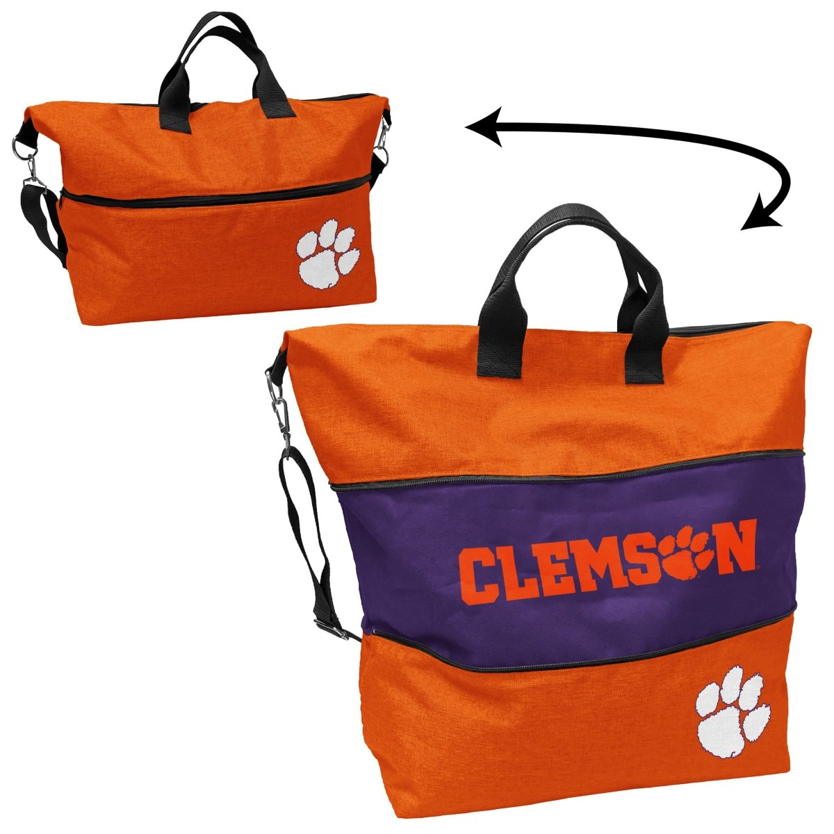 Clemson Crosshatch Expandable Tote Bag - Mr. Knickerbocker