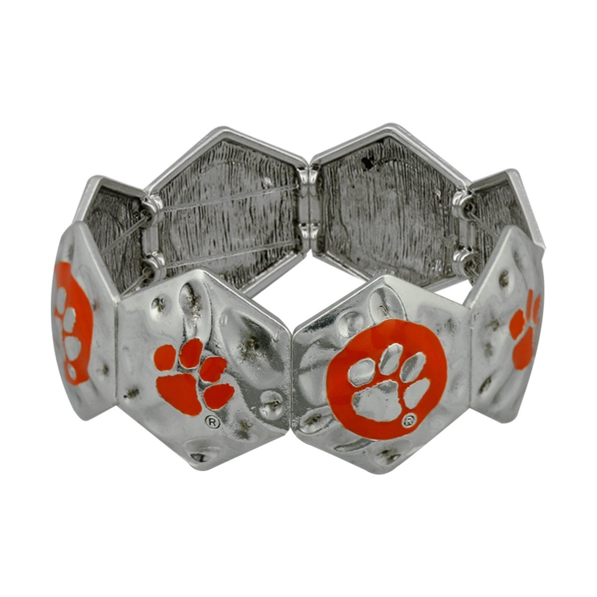 Clemson Hammered Metal Bracelet with Paw Prints - Mr. Knickerbocker