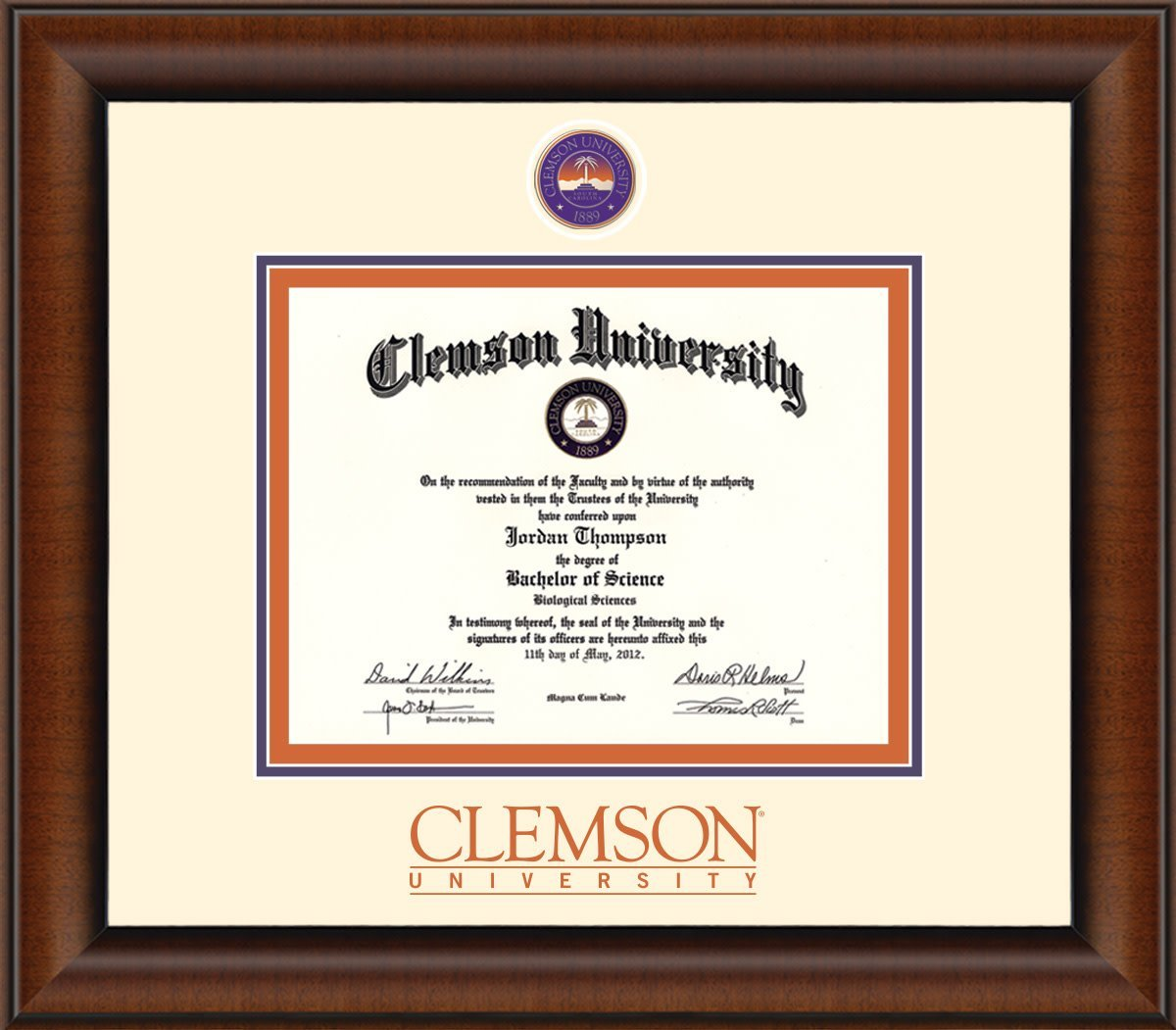 Clemson Medallion Masterpiece Diploma Frame - Mr. Knickerbocker