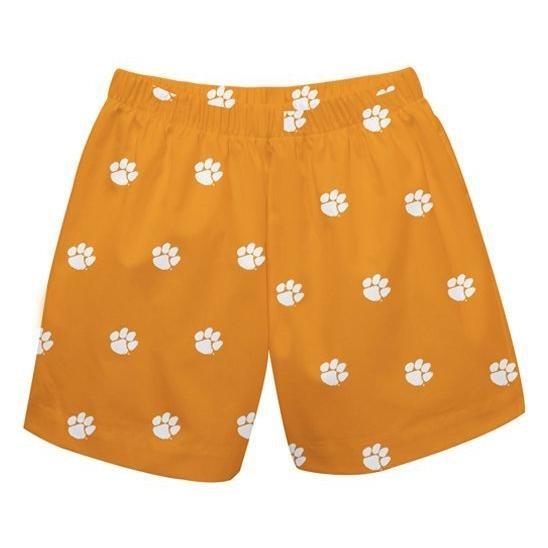 Clemson Orange All over Paw print Boy's Pull On Short - Mr. Knickerbocker