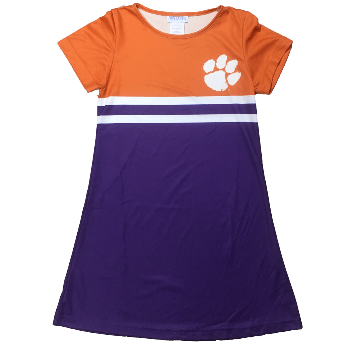 Clemson Orange and Purple Dress A line Dress Short Sleeve - Mr. Knickerbocker