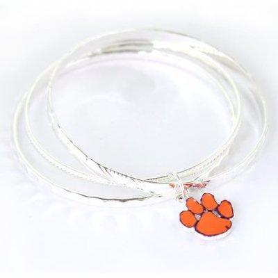 Clemson Paw Bangle Silver Plated Bracelet - Mr. Knickerbocker