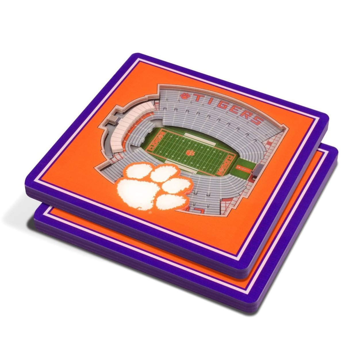 Clemson Tigers 3D Stadium Views Coaster Set - Mr. Knickerbocker