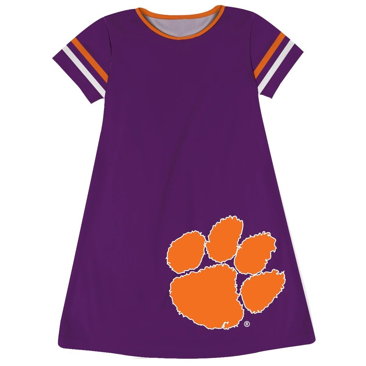 Clemson Tigers Big Logo Purple Stripes Short Sleeve A Line Dress - Mr. Knickerbocker