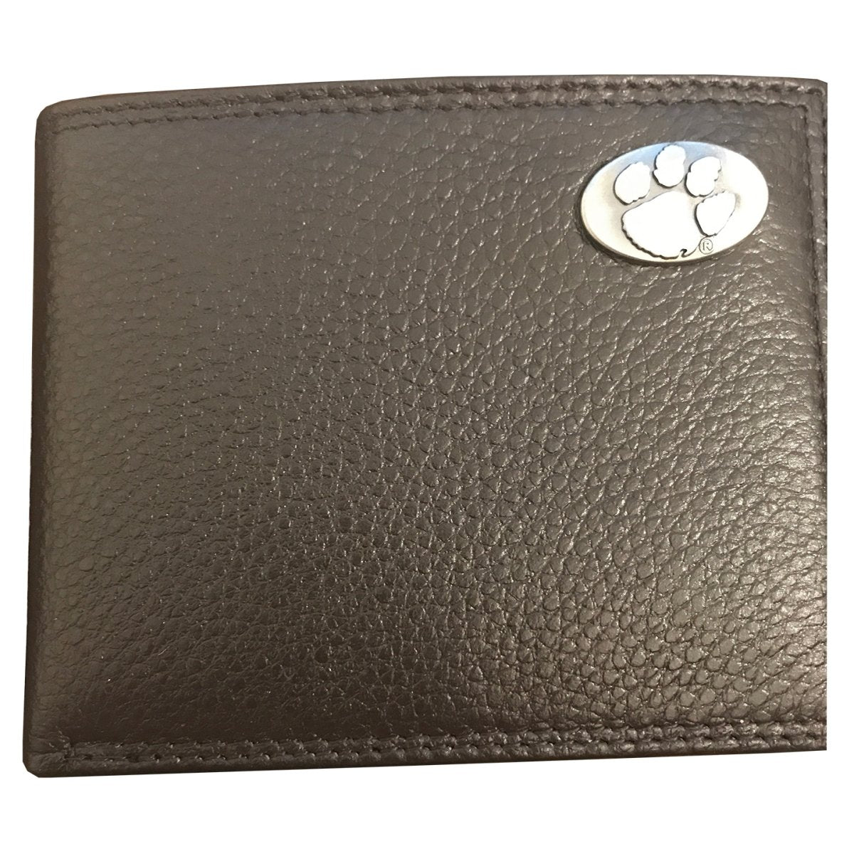 Clemson Tigers Brown Pebble Grain Passcase With Silver Paw Concho - Mr. Knickerbocker