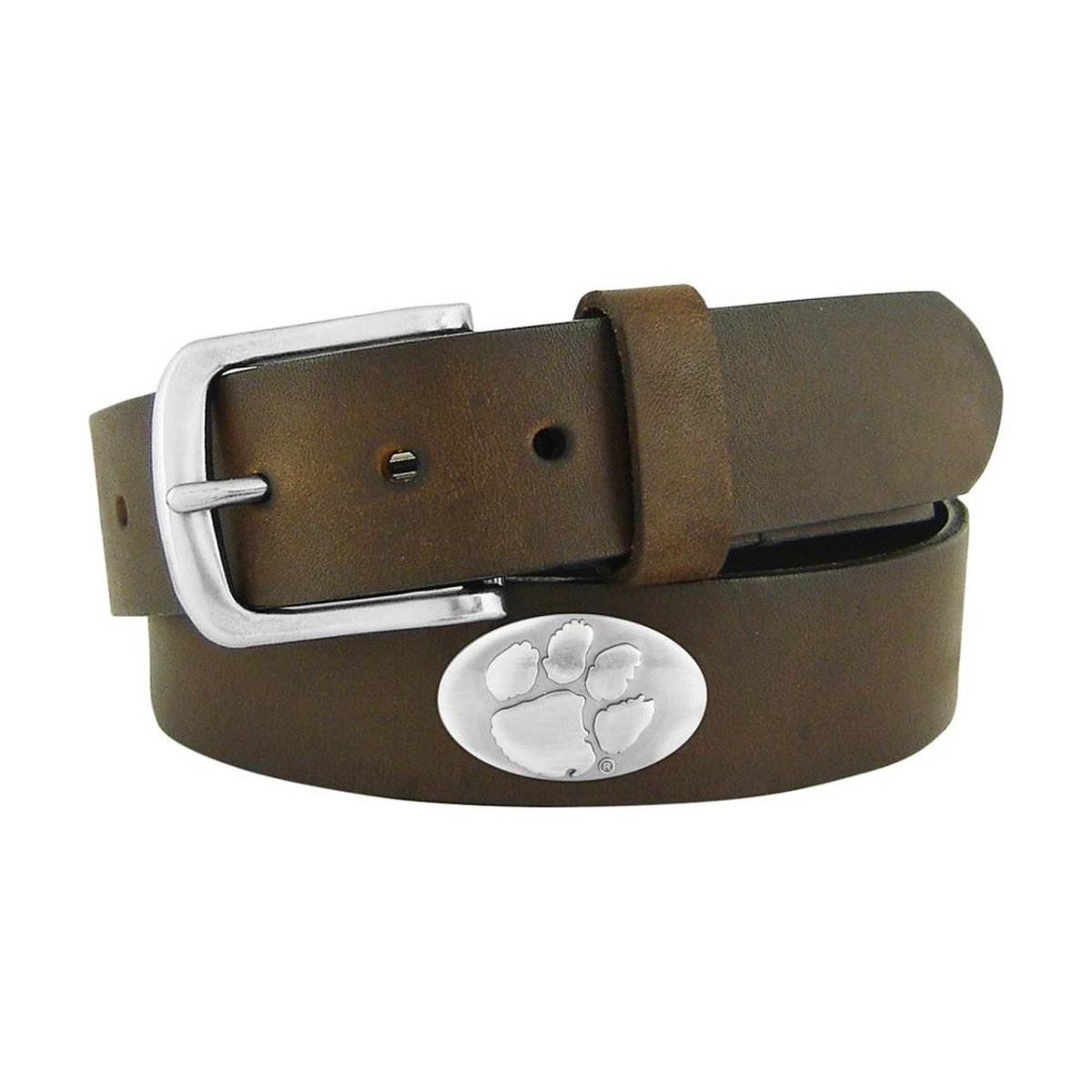 Clemson Tigers Concho No Tip Brown Leather Belt - Mr. Knickerbocker