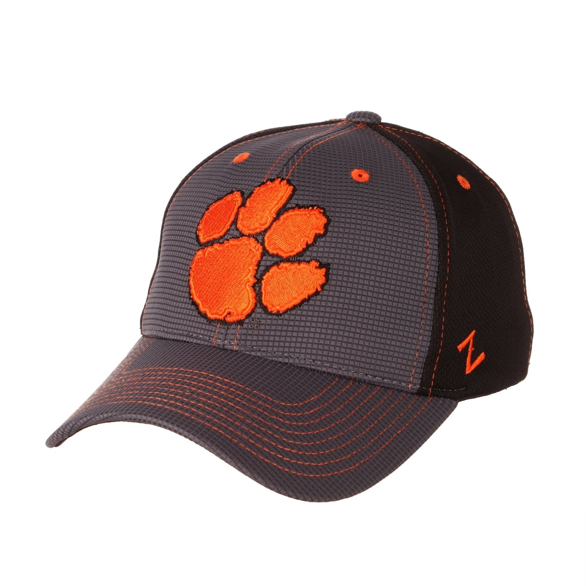 Clemson Tigers Forge Paw Print Stretch Fit Hat - Gray, Black, Orange - Mr. Knickerbocker