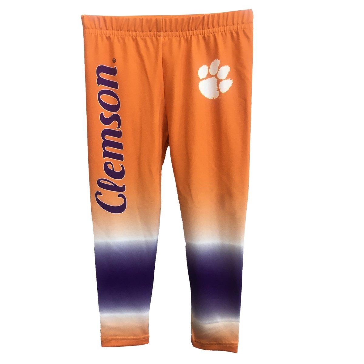 Clemson Tigers Leggings with Orange and Purple Tie Dye and white Paw - Mr. Knickerbocker