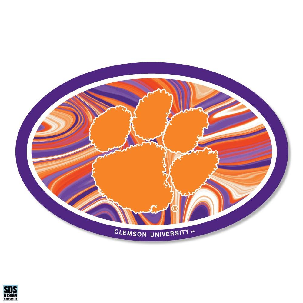 Clemson Tigers Marbled Oval Decal - Mr. Knickerbocker