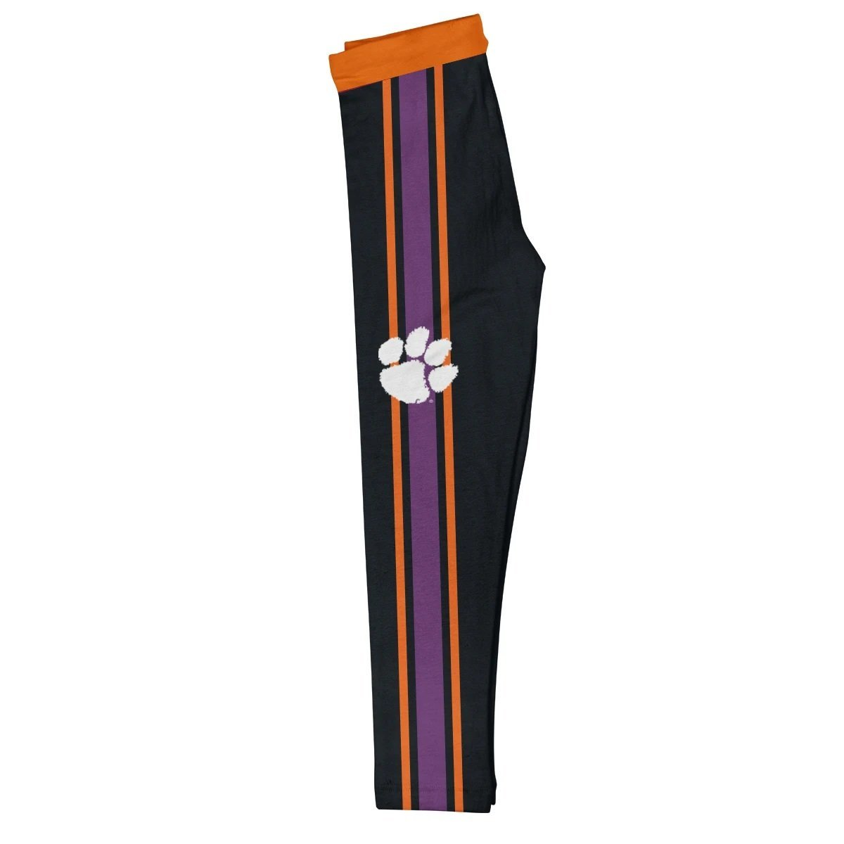 Clemson Tigers Orange Waist Purple And Orange Stripes Black Leggings - Mr. Knickerbocker