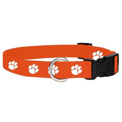 Clemson Tigers Paw Print Dog Collar - Mr. Knickerbocker