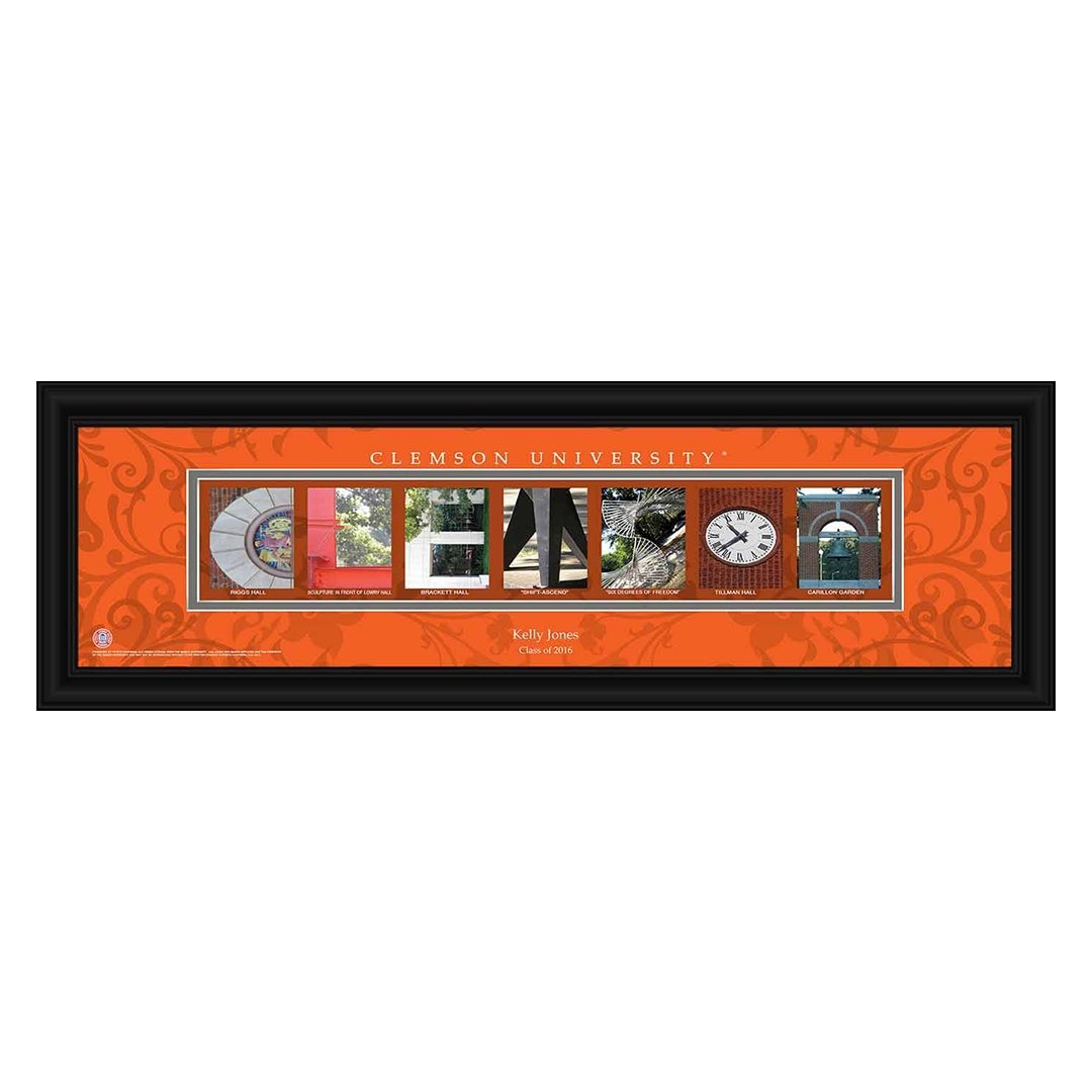 Clemson Tigers Personalized Campus Letter Art - Mr. Knickerbocker