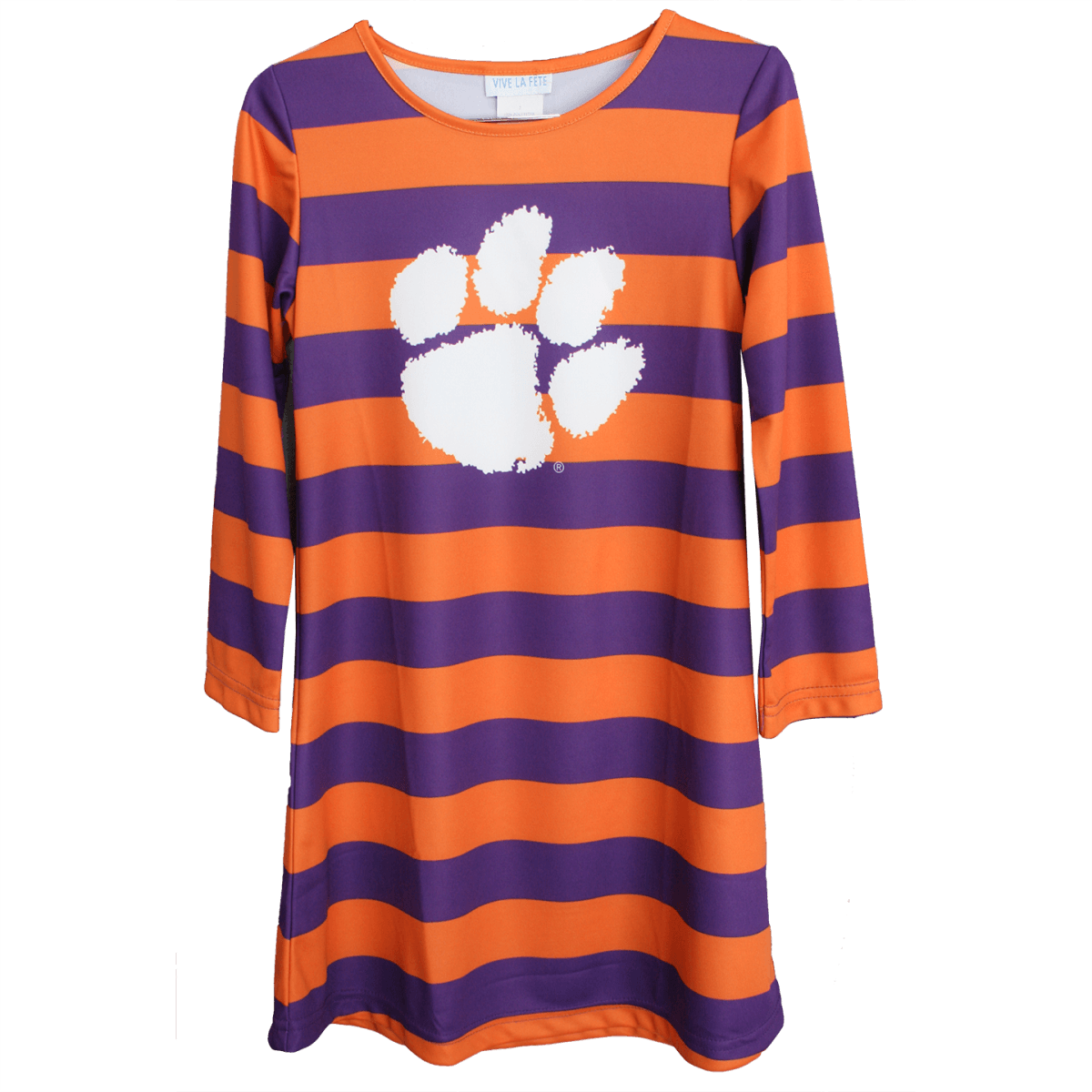 Clemson Tigers Purple and Orange Stripe 3/4 Sleeve A Line Dress - Mr. Knickerbocker