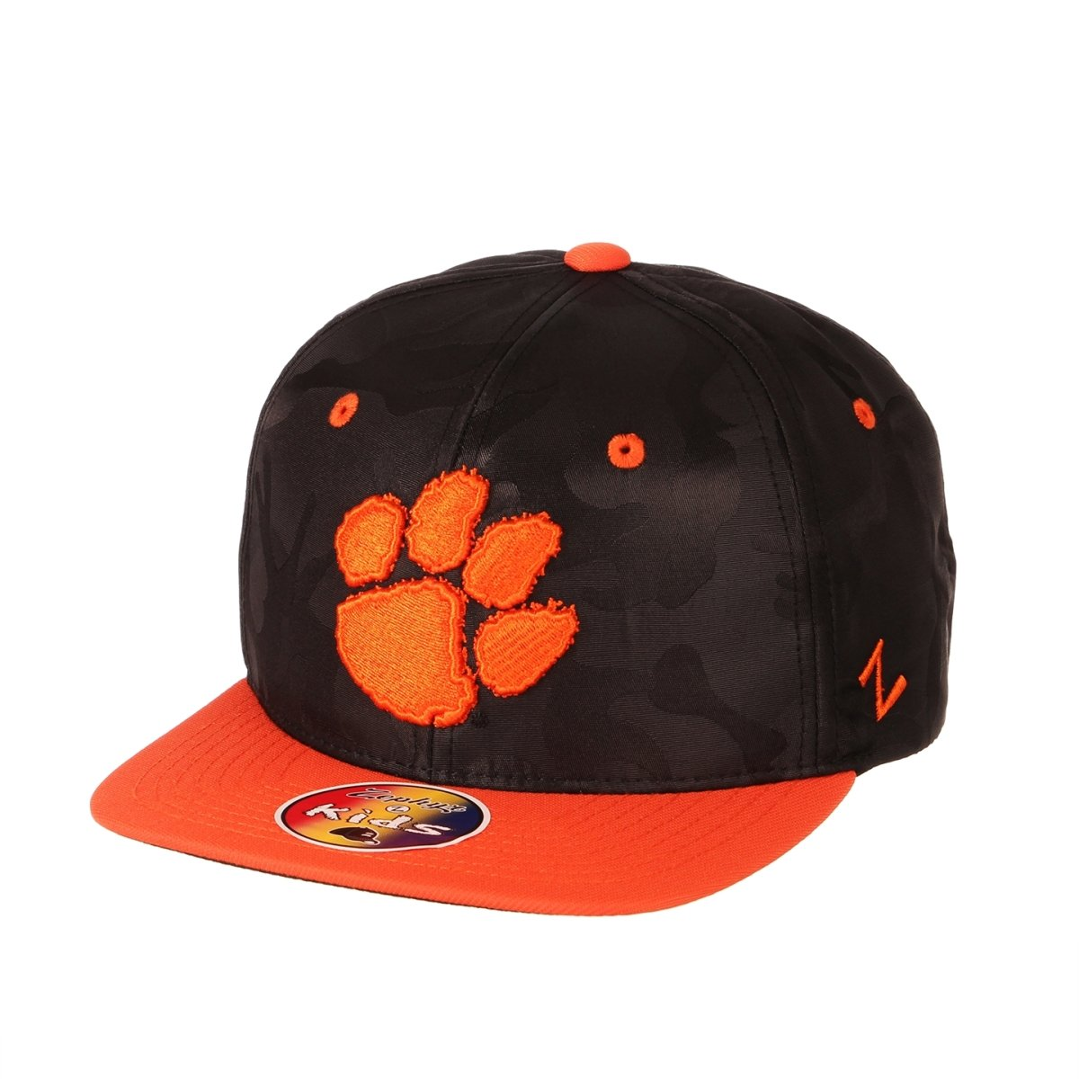 Clemson Tigers Sawyer Black Camo Youth Snapback - Black/orange - Mr. Knickerbocker