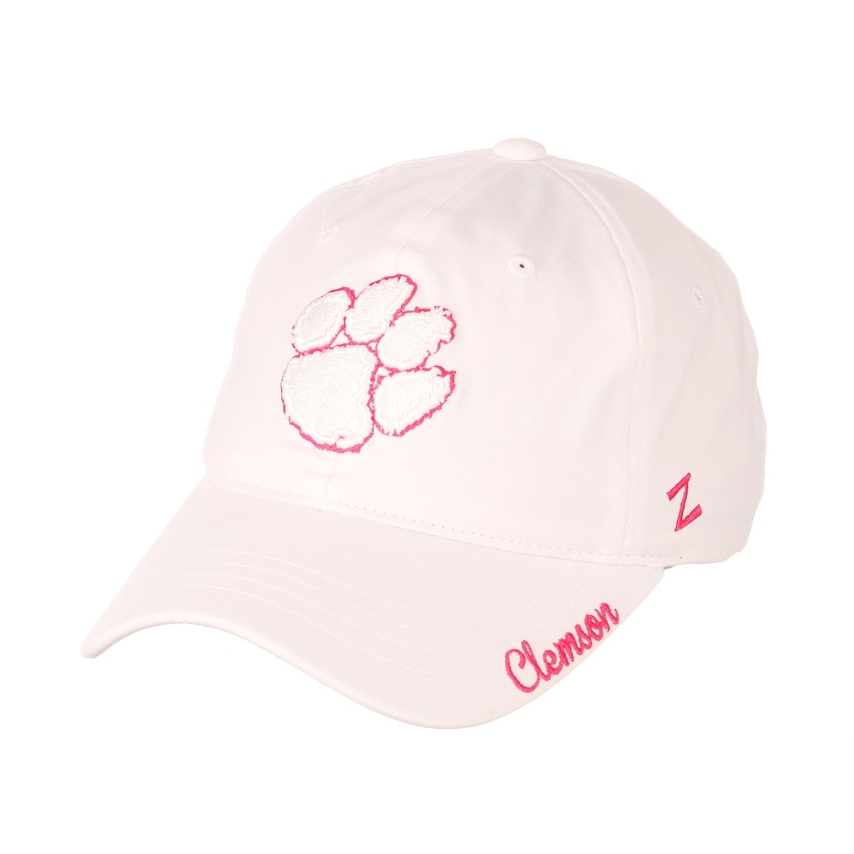 Clemson Tigers Spade Baseball Cap With White Paw Outlined in Pink Clemson Script - White - Mr. Knickerbocker
