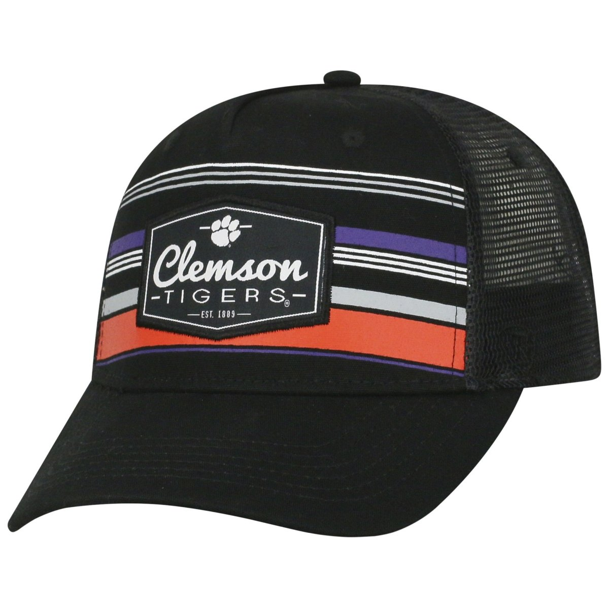 Clemson Tigers Top of the World Branded Trucker Adjustable Snapback Hat - Black - Mr. Knickerbocker