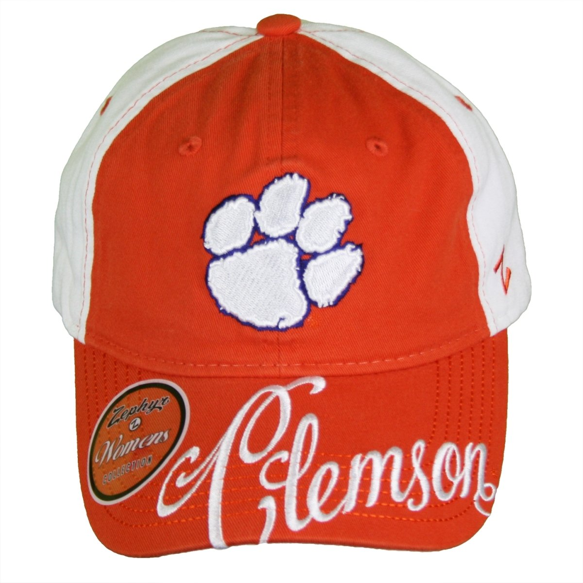 Clemson Tigers Treble Adjustable Baseball Cap With White Paw and Script on the Bill - Mr. Knickerbocker