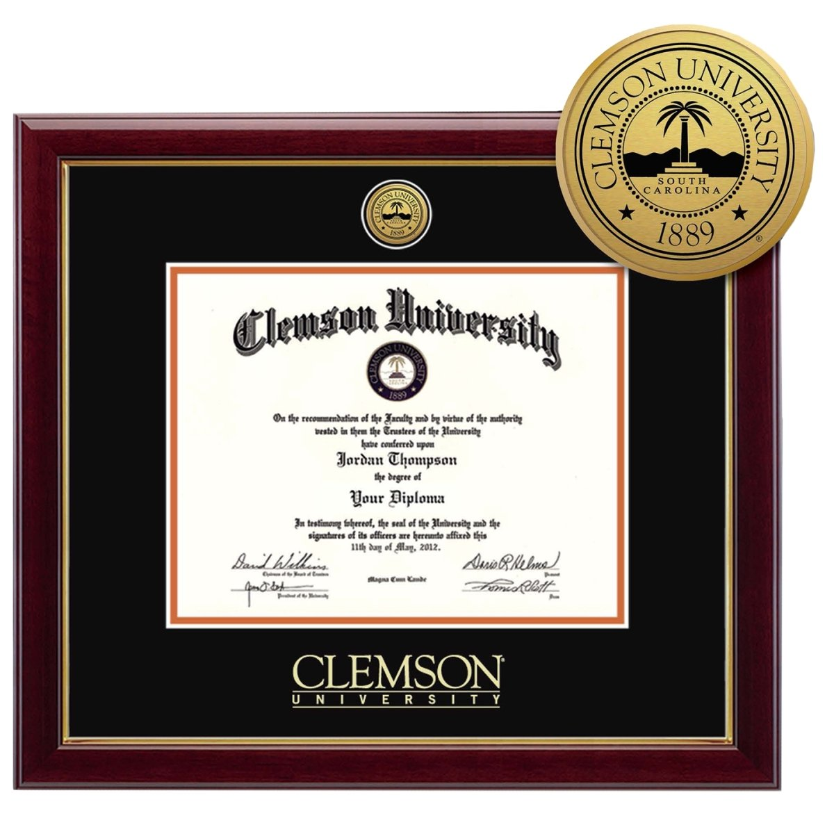 Clemson University Gold Engraved Diploma Frame - Mr. Knickerbocker