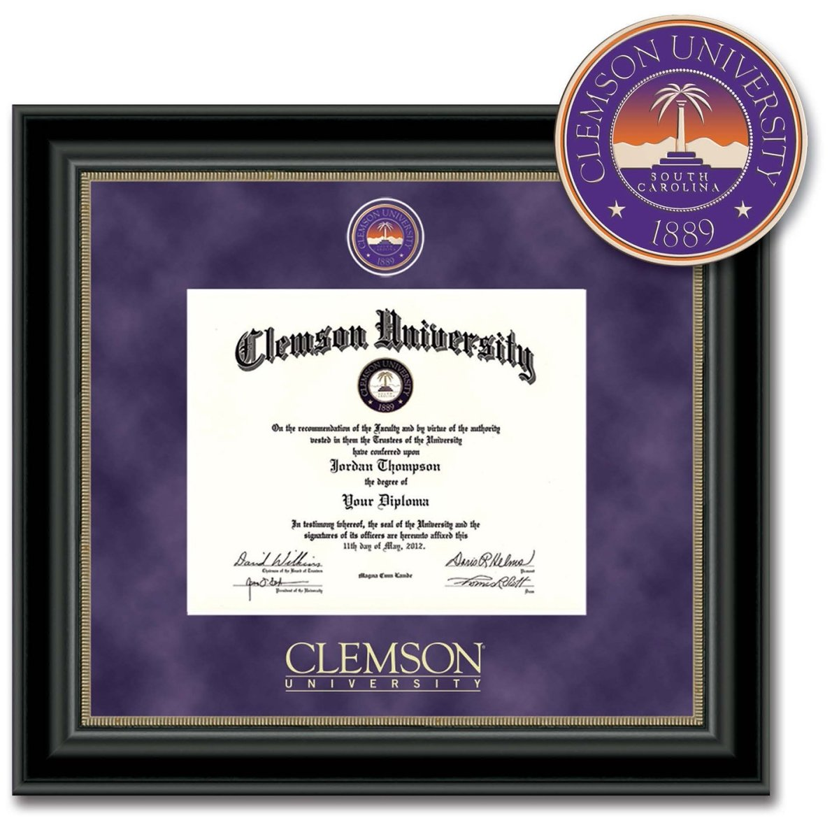 Clemson University Regal Masterpiece Diploma Frame - Mr. Knickerbocker