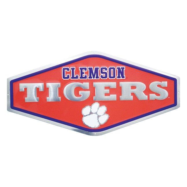 Embossed Metal Sign - Clemson Tigers & White Paw - Mr. Knickerbocker